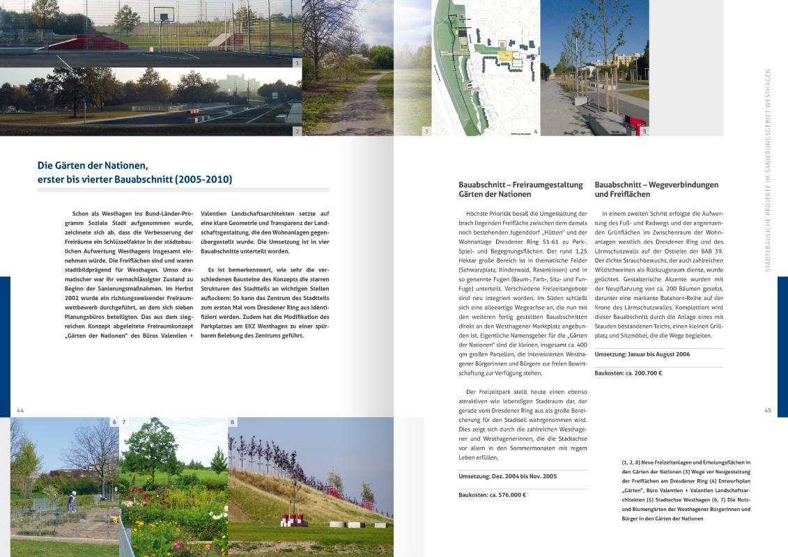 """10-jahre-soziale-stadt-westhagen-dokumentation-doppelseite-44-45: Design der Doppelseite 44/45 der von okamo aus Berlin gestalteten ca. 70-seitigen Broschüre """"10 Jahre soziale Stadt Westhagen – Dokumentation"""""""