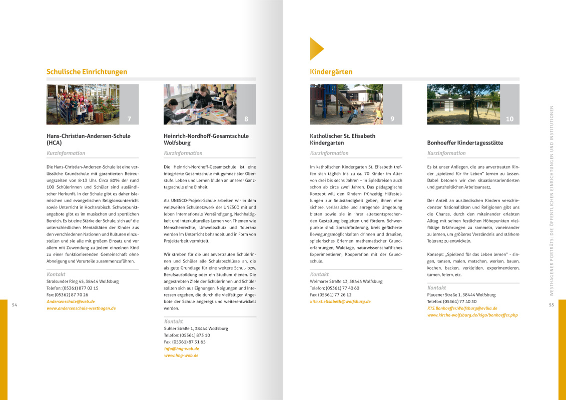 """10-jahre-soziale-stadt-westhagen-dokumentation-doppelseite-54-55: Design der Doppelseite 54/55 der von okamo aus Berlin gestalteten ca. 70-seitigen Broschüre """"10 Jahre soziale Stadt Westhagen – Dokumentation"""""""