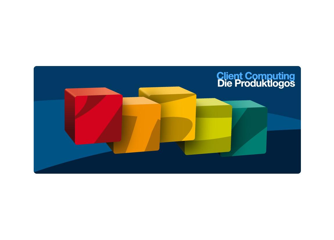Logodesign und Logo-System-Design der kompletten Signet-Familie für das Software-Portfolio von Client Computing