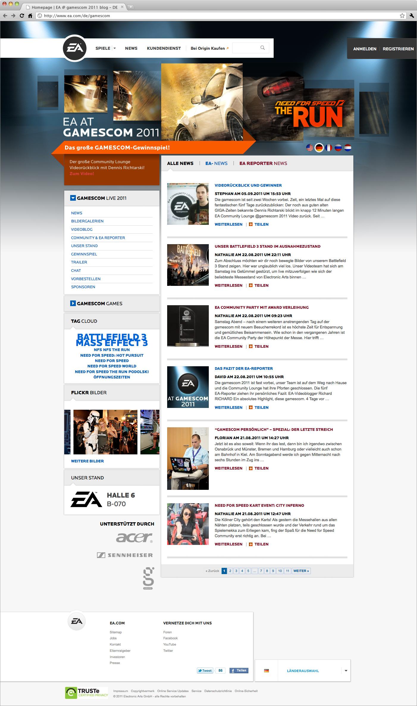 EA-at-gamescom-2011-Screen-Webdesign: Webdesign der von okamo aus Berlin gestalteten Homepage des Messewebauftritts von EA Electronic Arts auf der gamescom 2011 in Köln mit prominentem Headerbild und der zentralen Blog-Ansicht mit minutenaktuellen News von der Messe