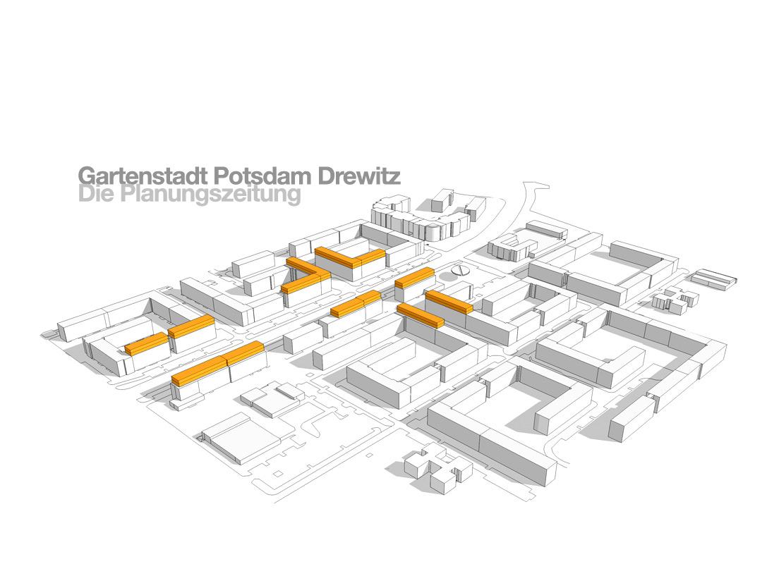 Design einer neuen visuellen Linie für die Planungszeitung zur Begleitung der Stadtentwicklung der Gartenstadt Drewitz in Potsdam sowie Satz und Layout der ersten Ausgabe