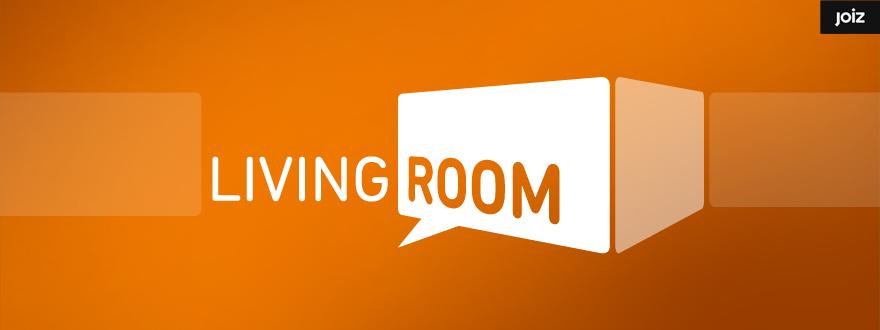 """Von okamo aus Berlin gestaltetes Format-Logo-Design der Fernsehshow """"Living Room"""" des Schweizer Web- und Fernsehsenders JOIZ."""