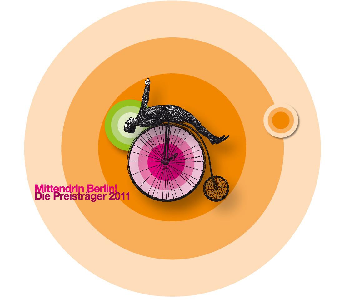 Design und Umsetzung der gesamtstädtischen Öffentlichkeitsarbeit der Preisträger des Wettbewerbs der Zentren-Initiative MittendrIn Berlin! 2011 in verschiedenen Medien