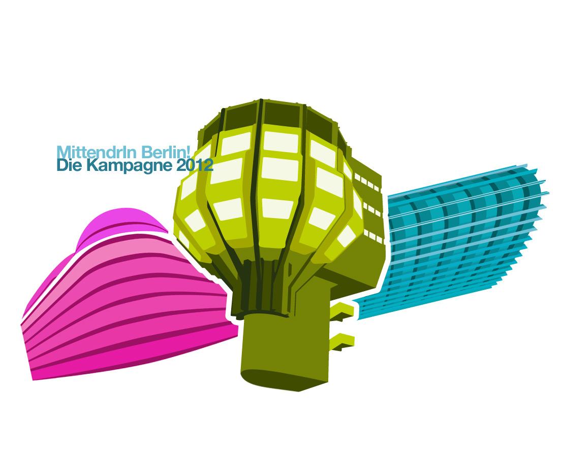 """Design und Entwicklung des visuellen Konzepts zum Motto des Wettbewerbs 2012 """"Laufend Neues erleben"""" von """"MittendrIn Berlin! Die Zentren-Initiative"""""""