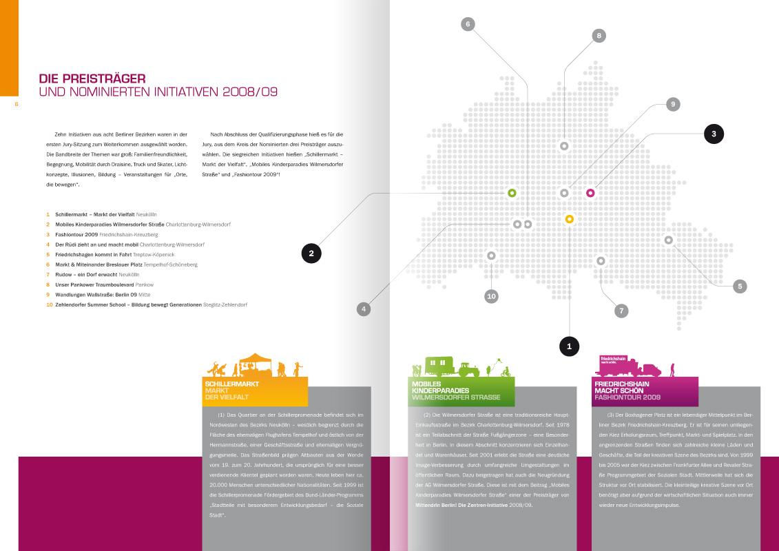 """Mdb-doku-2008-09-ds1: Design der Doppelseite 6/7 der von okamo aus Berlin gestalteten Broschüre """"MittendrIn Berlin! Orte die Bewegen – Dokumentation 2008/09"""" – mit einer Übersicht und Verortung von Teilnehmern und Preisträgern"""
