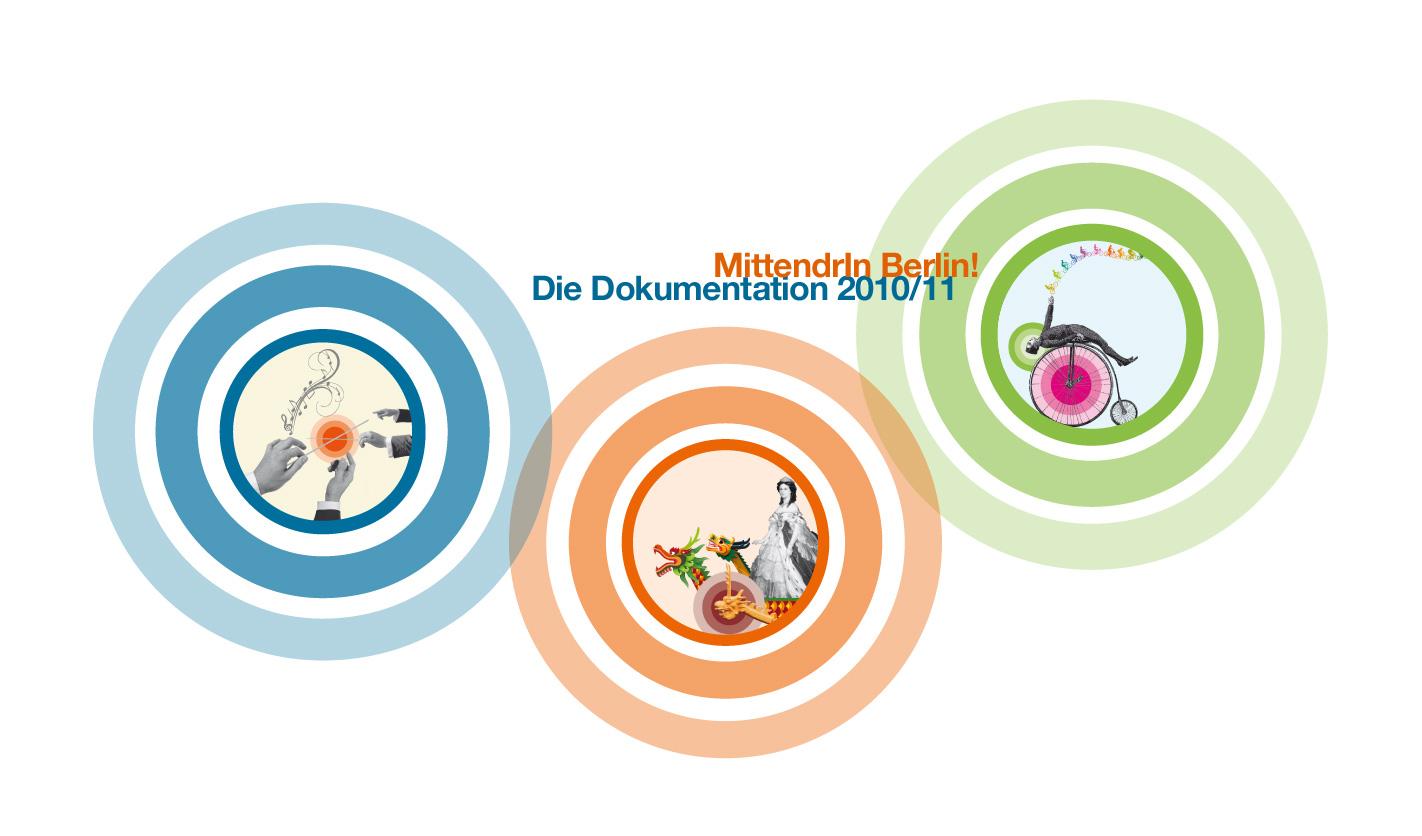 Design und Druckabwicklung der Broschüre mit der Dokumentation des Wettbewerbsverfahrens 2010/11 von «MittendrIn Berlin! Die Zentren-Initiative«